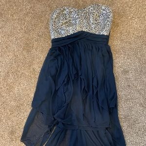 Strapless dress with silver sequins